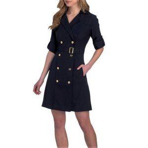 NWT Sharagano Navy Roll Sleeve Trench Dress